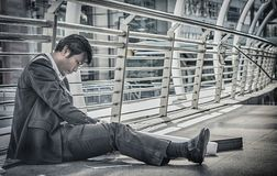 Business man failed to feeling hopeless, distraught, sad and dis. Couraged in life. Concept failing businesses stock images