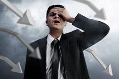 Businessman failure on smoke background royalty free stock photos