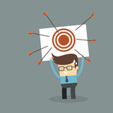 Business man failure on target. Business man tired for failure on target goal royalty free illustration