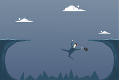 Business Man Falling In Cliff Gap Businessman Fail Bankruptcy Crisis Concept. Flat Vector Illustration Stock Photos