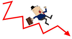 Business man falling down the career ladder Royalty Free Stock Images