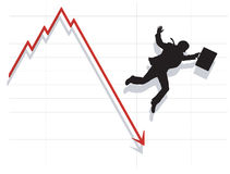 Business Man Falling Down with Economy. Silhouette of business man falling with the collapse of the economy Royalty Free Stock Photography