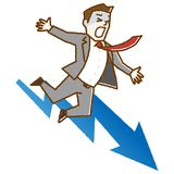 Business man falling from graph. Vector illustration.Original paintings and drawing vector illustration