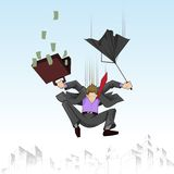 Business man falling with umbrella. Illustration of business man falling with umbrella and suitcase full of note royalty free illustration