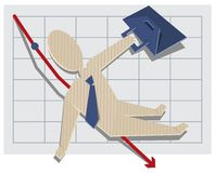 Business man falls from the chart Royalty Free Stock Photography