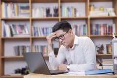 A business man feels stress royalty free stock photos