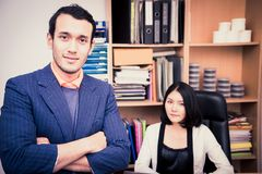 Business man and female staff royalty free stock photo