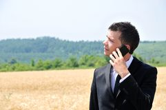 Business man on field Royalty Free Stock Photo