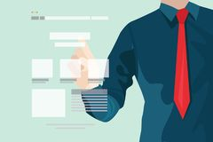 Business man with field of charts stock illustration