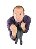 Business man fight. Dynamic view of aggressive business man ready to fight stock photo