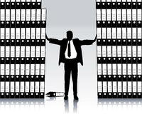 Business man with filing folder. Business man with many filing folder is overwhelmed royalty free illustration