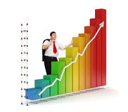 Business man - Financial graph. Smiling business man standing near a colored 3d rendered photo-realistic financial graph - Isolated - Financial growth concept Stock Images