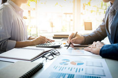 Business Man Financial Inspector And Secretary Making Report, Ca Stock Photo