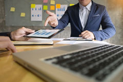 Business man financial inspector and secretary making report, ca Royalty Free Stock Photos