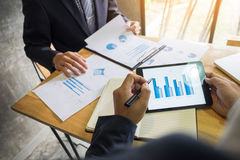 Business man financial inspector and secretary making report, ca Stock Images