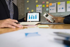 Business man financial inspector and secretary making report, ca Royalty Free Stock Photo
