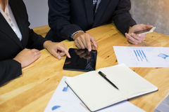Business man financial inspector and secretary making report, ca Stock Image