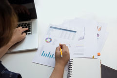 Business man financial inspector and secretary making report Stock Photography