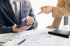 Business man financial inspector and secretary making report, ca Royalty Free Stock Images