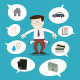 Business man with financial issue. By vector Royalty Free Stock Photos