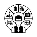 Business man and financial management. Business man with financial management diagram Royalty Free Stock Photography