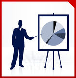 Business man with financial pie chart. Image is an original  illustration Royalty Free Stock Photography