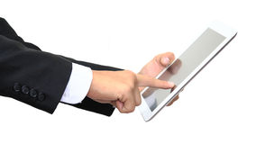 Business man finger pointing touch screen of digital tablet Stock Photography