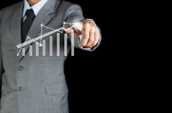 Business man with finger to strategy concept Stock Photography