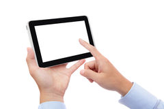 Business man finger touch tablet pc. Business man hand finger touch digital tablet pc with empty white screen for copy space isolated on white background (Path Royalty Free Stock Image