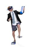 Business man in fins and goggles hands folder Stock Photography