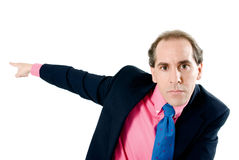 Business man firing you. Business man firing to the camera on white background stock photography