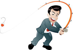 Business man fishing Royalty Free Stock Images