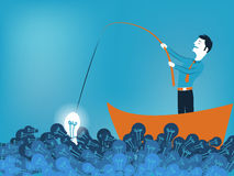 Business man fishing a good idea in sea of light bulb. Vector illustration Stock Images