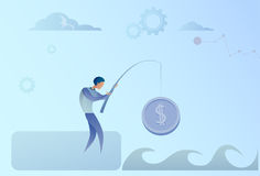 Business Man Fishing Money Coin Strategy Success Finance Growth Concept Stock Image