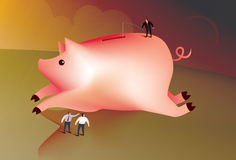 Business man fishing for money. Illustration of a business man fishing for money in a giant piggy bank Stock Photo