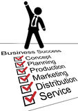 Business person on Success check list. Business man fist raised standing on check list celebrate business success Stock Photography