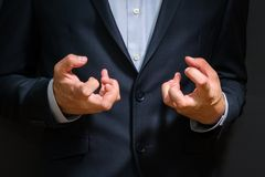 Business man fists clenched in anger. Annoying emotions at work royalty free stock images
