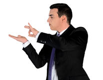 Business man flick something. Isolated business man flick something royalty free stock photos