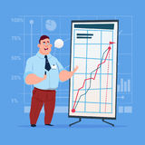 Business Man With Flip Chart Seminar Training Conference Brainstorming Presentation Financial Graph. Flat Vector Illustration Royalty Free Stock Images