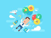 Business man fly with balloons. Concept startup. Businessman success, leadership career, vector illustration Royalty Free Stock Photos