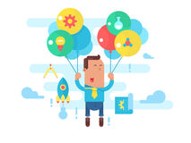 Business man fly with balloons. Concept startup Royalty Free Stock Photography