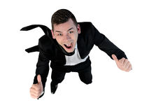 Business man fly concept. Isolated business man fly concept Royalty Free Stock Image