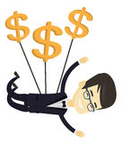 Business man flying with dollar signs. Stock Photography