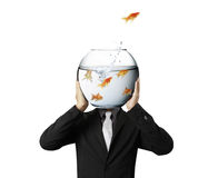 Business man flying goldfishes from one to another. Business man and flying goldfishes from one to another Stock Images