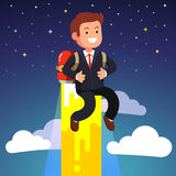 Business man flying on a jetpack fire engine Royalty Free Stock Photos