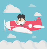 Business man flying a plane retro Royalty Free Stock Images