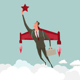 Business man flying with a rocket takes hold of a star. Royalty Free Stock Image