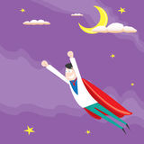 Business man flying. vector illustration. Royalty Free Stock Photos