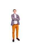 Business man with folded hands isolated. On white background Royalty Free Stock Image