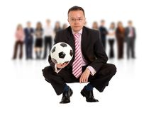 Business man with a football Stock Photos